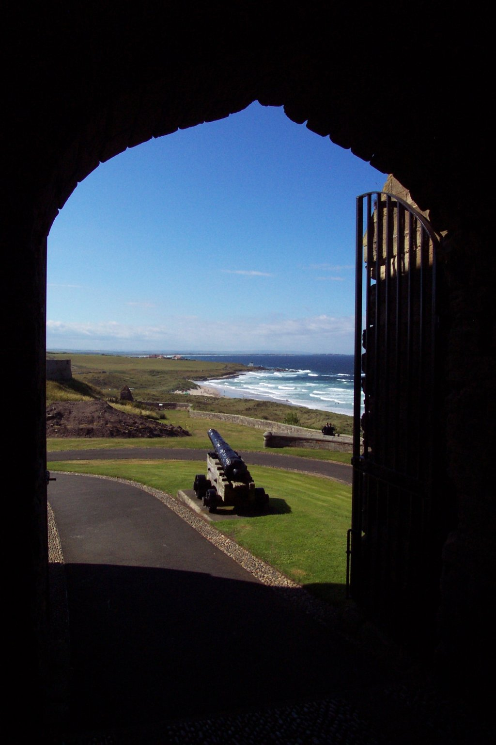 View through an arch at Bamburgh Castle, Northumberland